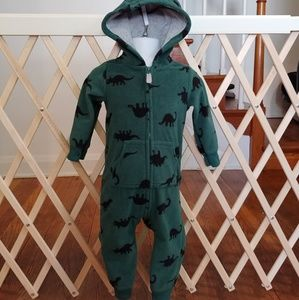 12m Carter's fleece hooded dinosaur romper